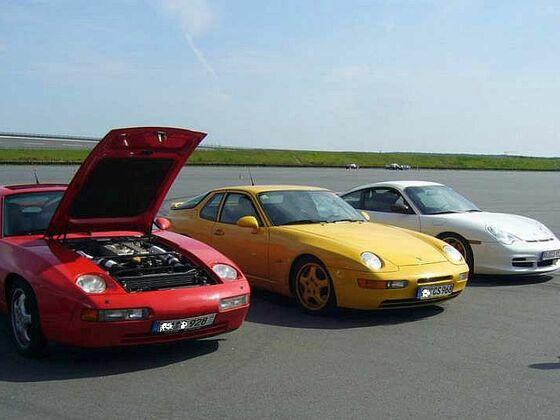 Boxberg red 928 GTS,  yellow 968 CS, white 996 GT3