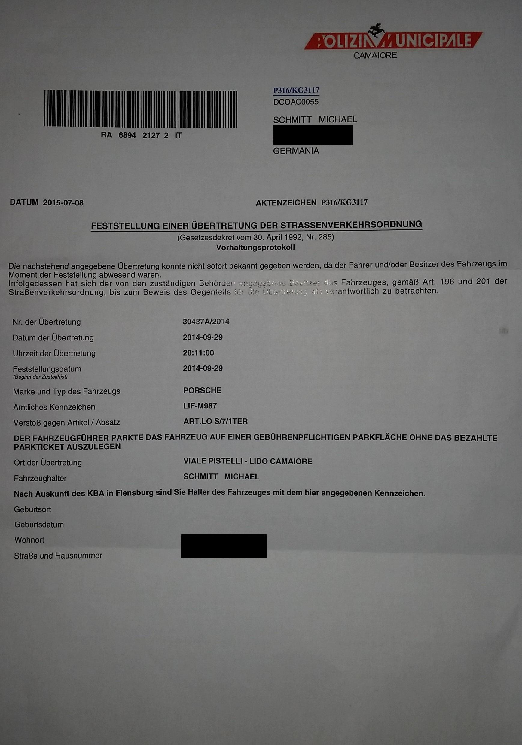 Strafzettel Aus Italien Fake