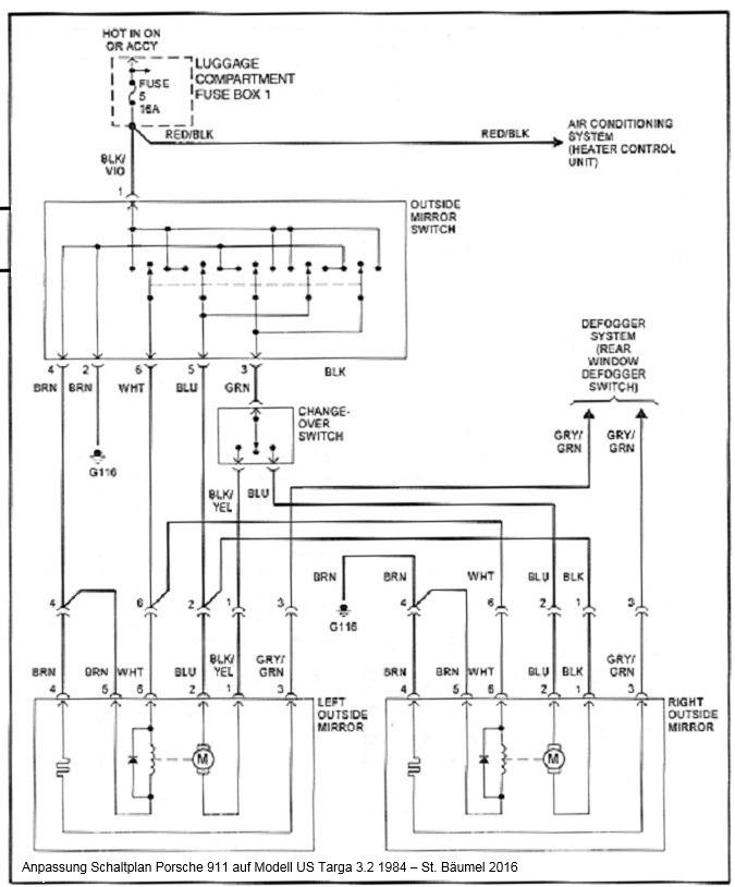 schaltplan spiegelverstellung 911 us targa 3 2 1984. Black Bedroom Furniture Sets. Home Design Ideas